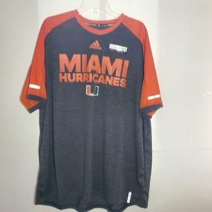 NWT Adidas Miami Hurricanes Hi Visibility Tee
